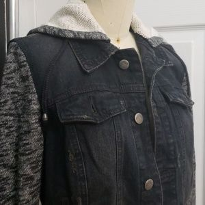 Free People Mixed Media Denim and Knit Hoodie